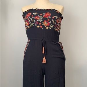 American Eagle Floral Embroidered Jumpsuit
